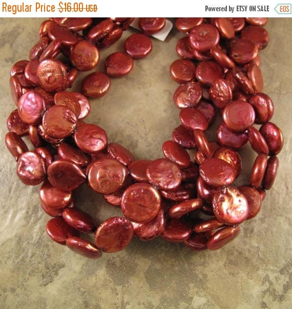 Summer SALEabration - Red Pearls, Freshwater Pearls, Deep Rose Round Coin Pearls, 14mm, 8 Inch Strand, 14 Pearls, Jewelry Supplies (P-C6)