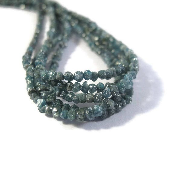 Teal Blue Rough Diamond Chips, 3.5 Inches of Raw Diamond Beads, 1.5mm - 2mm Diamond Beads, Drilled Bead, Jewelry Supplies (Luxe-Di1)