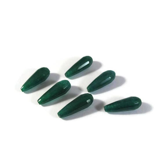 Green Jade Beads, Six Emerald Green Dyed Jade Long Drilled Drops, Briolettes, Six Stones, 22mm x 8mm (L-Mix10c)