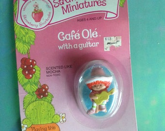 Vintage Strawberry Shortcake Cafe Ole with a guitar Strawberryland Miniatures
