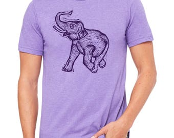 Elephant  Hand Carved   Woodblock Printed T Shirt