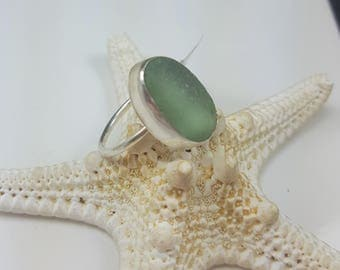 Sea Glass Ring Sea Glass Jewelry Green Sea Glass Ring Beach Glass Jewelry Gift for Women Christmas Gift Size 7.25 - R-173
