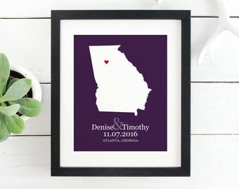 Georgia State Map, Personalized Wedding Sign, Southern State Map, Any State, Personalized Wall Art, Hometown Sweethearts -  Art Print