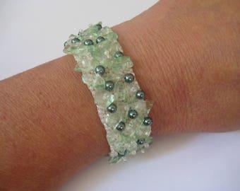 Beaded Cuff Bracelet in Green,