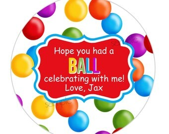 Ball Pit Stickers,Gumball Birthday party,Ball pit favor labels, gift stickers, party favors,Personalizaed stickers, gumball machine stickers