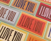 I LOVE YOU Mini Cards Letterpress with envelopes 20 pack valentine love notes