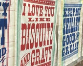 2 COTTON TEA TOWELS/Biscuits and Gravy/Southern Kitchen/letterpress typography/kitchen dishtowel/hostess gift/housewarming/Southern gift