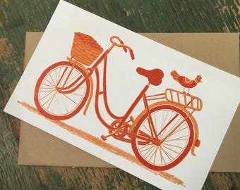 BICYCLE WITH BASKET card with Kraft Envelope Hand Printed letterpress girls bike decor print framable retro vintage old school card