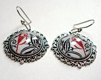 Earrings, red birds BO160