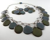 Sold Custom Order For Alesia Blue and Green Tagua Nut Eco Friendly Bib Statement Necklace and Matching Earrings with Free USA Shipping