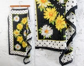 80's Daisy Polka Dot Large Sheer Scarf in Black White and Yellow . 1980s 80s 90s 1990s Oversized Shawl Neck Tie head wrap marigold