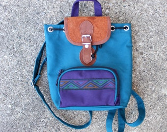 90's Canvas Southwestern Mini Backpack in Blue and Purple with Leather Cover . Clasp Buckle Drawstring . Adjustable Cute 1990s . Turquoise