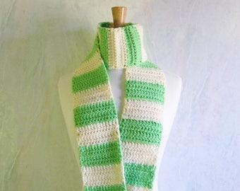 Rugby Scarf, Scarves for Women, Apple Green Scarf, Womens Scarf, Long Scarf, Acrylic Scarves, Winter Scarf, Crochet Scarf, Handmade Scarf