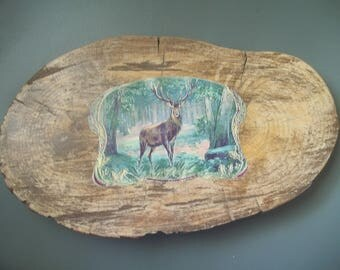 Tree Slice ~ Wood Slice ~ Buck Deer ~ Decoupage Deer ~ Woodland Decor ~ Paperweight