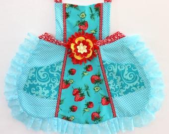 Juicy Strawberry Girls  Apron, toddler apron