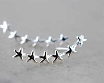 Starfish ear climber, Sterling Silver, starfish earrings, ear sweep