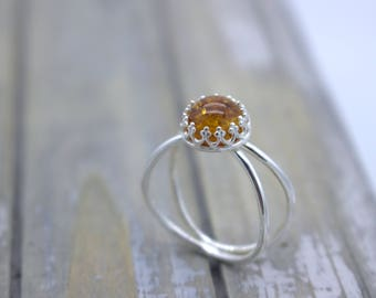 Baltic Amber Sterling Silver Double Ring Band - Amber Jewelry