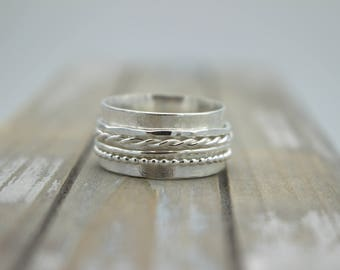 Sterling silver Spinner Wide Band Ring - Multi Texture Spinner Ring