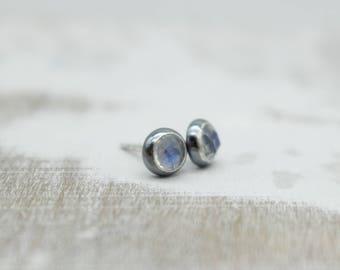 Rainbow moonstone sterling silver stud earrings - Jewelry Earring Studs