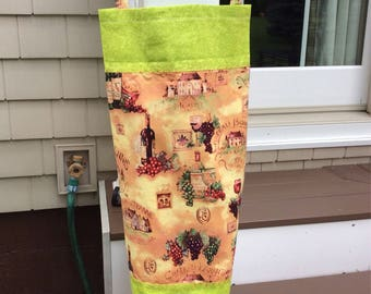 Recyle Plastic Bag Holder - Wine themed with lime green fabric accent