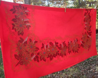 """Vintage Red Christmas Tablecloth - Sturdy Cotton Holiday Cloth - Gold and Silver Candles, Scrolls, and Poinsettias - 46"""" Square"""