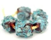 Swirly Nuggets #1- Set of 5 lampwork beads