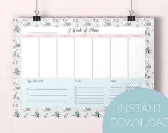 Print at Home Weekly Planner, to do list, top priorities, productivity, habit tracker, instant download, printable