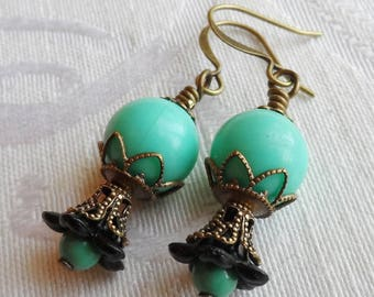 75% Off Clearance Sale, Lily Blossom Earrings, Vintage and Turquoise Beads, Turquoise and Black