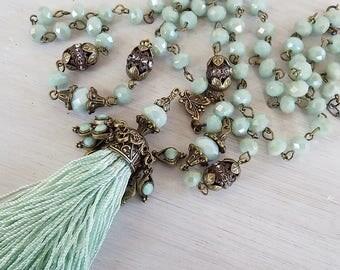 Tassel necklace, Mint Green, tassle necklace, mint green tassel, long necklace, rosary chain, ornate chain, boho tassel, gift woman, pendant