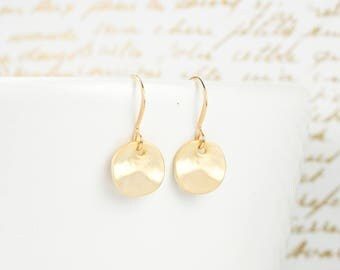 Tiny Matte Gold Dangle Earrings, Hammered Gold Earrings, Small Drop Earrings, Small Hammered Gold Earrings #848