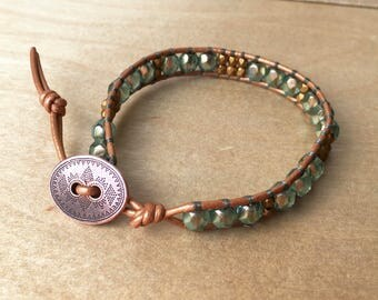 Single Wrap Leather BOHO Bracelet - Green and Copper