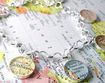 SUMMER SALE Charming Vintage Map Toggle Sterling Silver Charm Bracelet.  You Select the Journey.