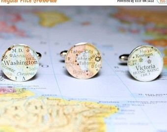 SUMMER SALE DLK Triple Play Personalized Map Cufflinks