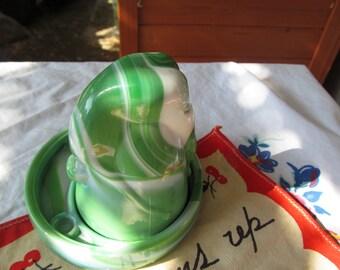 vintage McKee Bottoms Up shot glass, coaster with vintage napkin, green slag