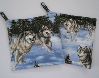 Wolves Running in Snow  Wolf Potholders