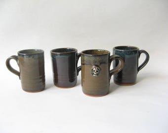 Espresso Cups Unique Set of 4, Skull Demitasse, Set of Demitasse, Stoneware Espresso Cups, Ceramic Espresso Cups