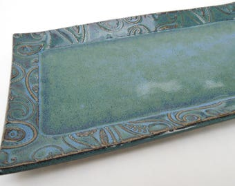 Slate Blue Green Textured Paisley Handmade Ceramic Pottery Butter Dish Plate