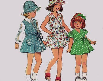 Vintage 70s Girls RETRO Front WRAP Dress or Jumper and Hat Sewing Pattern Simplicity 6300 Size 3 or 5 Brast 22 or 24