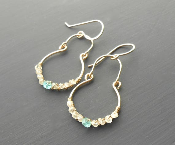 Gold Gemstone Dangle Earrings