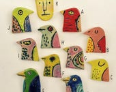 RESERVED for 2dackel10 birds and a cat - ceramic clay lapel, coat pins
