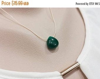 ON-SALE Green Jade Necklace -  Silk String Necklace - FOUR Color Available
