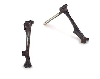 Bone Earrings - Silver Bone Earrings - Bone Studs - Black Bone Studs - Black Bone Earrings - Bone Jewelry - Andyshouse - Made in Brooklyn