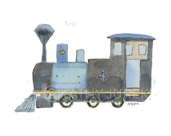 Train Nursery Print - Boys Train Print - Gray Train Wall Art - Train Print - Steam Engine print