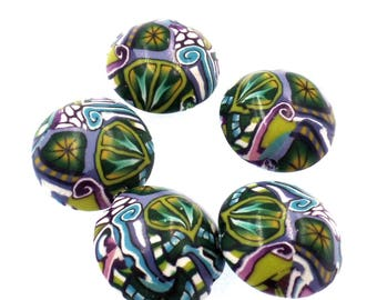 Polymer Clay Lentil Beads, 5 Pieces