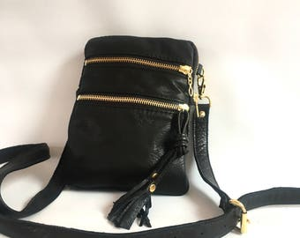 Small cross body Leather bag in black