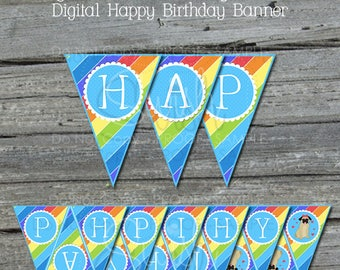 Pug Birthday Banner | Pug Printable Party Banner | Sign | Happy Birthday | Digital Download | Rainbow Pawty |  Instant Download | Rainbow