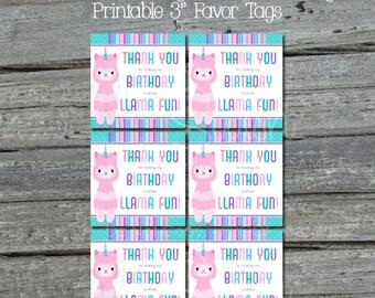 Llamacorn Favor Tags   Llamacorn Party Printables   Digital Download   Printable 3 inch tags   Instant Download   Birthday Llama