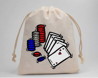 Poker, Party Bags, Birthday Party, Treat Bags, Candy Bags, Favor Bags, Muslin Bags, Goodie Bags, Drawstring Bags, 5x7