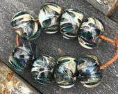 Borosilicate Beads Shimmer Green and Neutrals