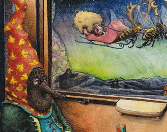 Fairyland Christmas Card Boxed Set Image from an Original Watercolor Painting Train Ride Home for the Holidays